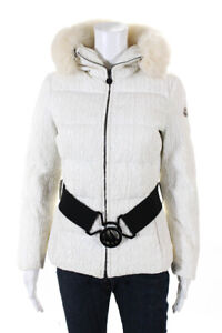 Moncler Womens Fur Trim Hooded Textured Belted Coat White Size 1