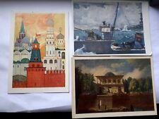 More details for art postcard vintage art russian russia set 3 kremlin bopohuxuh