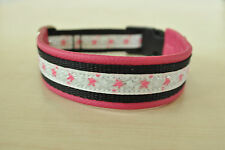 Hundehalsband mit Bordüre,pink,3cm breit,pink,Leder,nach Maß, Handarbeit, NEU