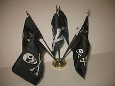 "Pirate Pirates Jolly Roger Set 6 Different Flags 4""x6"" Desk Set Table Gold Base"