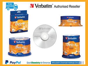 Verbatim Brand DVD Blank Disc DVD-R AZO Spindle 10 25 50 100 Pack Free Shipping
