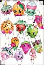 """13 X 3"""" Shopkins Imprimé Cupcake comestibles Toppers stand up Pre-Cut facile à utiliser"""