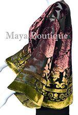 Maya Matazaro Gold Chocolate Velvet Jacket Short Kimono No Fringe Hand Dyed