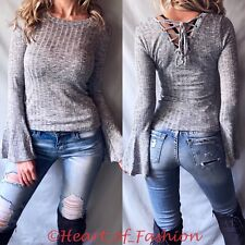 Gray Lace Up Back Slub Ribbed Soft Long Bell Sleeve Women's Junior Fall Top