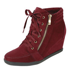 New Women Fashion High Top Lace Up Med Low Wedge Heel Sneaker Shoe Ankle Booties