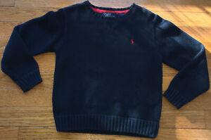 Polo Ralph Lauren Boys Sz 6 Navy Blue Cotton Knit Crewneck Sweater Made in Japan