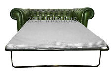 Chesterfield Antique Green Two Seater Sofa Bed Handmade With Genuine Leather