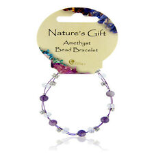 Purple Amethyst Crystal Ball, Bead & Charm British Fossils Natures Gift Bracelet