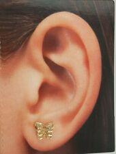.10 CT 14k Yellow Gold 6 mm Butterfly Stud Earrings 1.2 gr Push Back