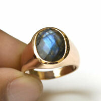 Blue Fire Faceted Labradorite Gemstone 14K Rose Gold Silver Men's Ring Size 9