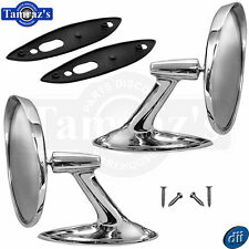 61-62 Chevrolet Round BOWTIE Rear View Door Side Chrome Mirror & Hdw  Dii PAIR