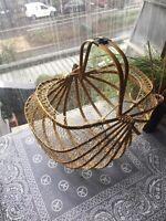 Post War Japanese Bamboo Wooden Cane String Folding Basket Antique
