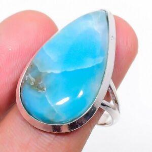Republic Larimar Gemstone Handmade 925 Sterling Silver Jewelry Ring Size 7 N660