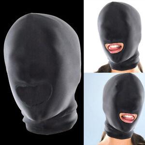 Fashion Soft Full Face Spandex Padded Mask Open Mouth Hood Head Mask UK Black