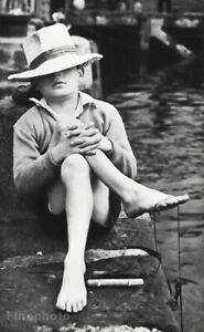1960 Vintage Sleeping Boy In Hat String Fishing On Dock Photo Art By Paul Popper