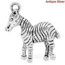 LOVELY SILVER AND STRIPED ZEBRA CLIP-ON CHARM FOR BRACELET-S/PLATE-NEW
