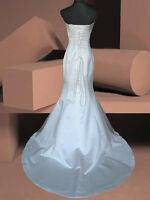 IVORY/WHITE MERMAID BRIDAL WEDDING DRESS FISHTAIL BALL GOWN 8/10/12/14/16/18