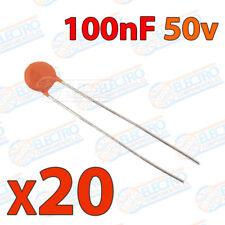20x Condensador 100nF 100000pF 0,1uF 50v 104 ceramico PCB PIC Arduino