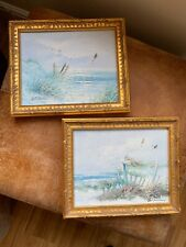 Pair Of Gold Coloured Gilt Vintage Style Picture Frames Paintings Signed
