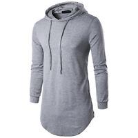 Men's Hoodies T Shirt With Side Zipper Male Long Sleeve Hooded Top Streetwear