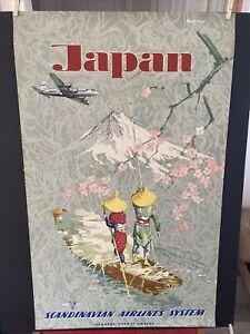 "VINTAGE 1951 RARE ORIGINAL JAPAN SCANDINAVIAN AIRLINES Travel Poster 24""x39"""