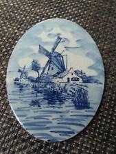 Vintage HOLLAND WINDMILLS TILE H&R JOHNSON England 6x4.5 Oval Blue Delft Ceramic
