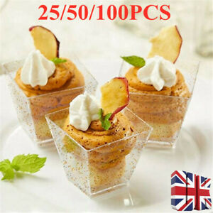 50PCS Square Small Dessert Cups with Spoons Disposable Gold Glitter Food Storage