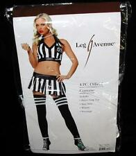 Referee Costume Black White Halter Crop Top Mini Skirt Stockings ML Leg Avenue