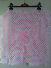 Handmade crochet pink and cream pram blanket.