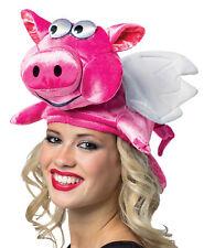 Adult Plush Pink Flying Pig Hat Halloween Rasta Imposta One Size