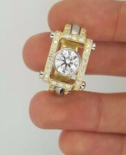 New Handmade 18K Yellow Gold Two Tone Round Diamond Square Solitaire Mens Ring