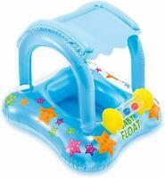Baby Pool Float + Canopy Sunshade Infant Kiddie Swimming Tube Water Raft 1-2 Yrs