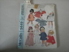 McCall's pattern 9449 for 17 to 18 1/2 inch doll vintage 1968 Betsy Wetsy, etc.