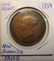 1854 New Brunswick Canada TOKEN 1 Cent One Penny Currency Victoria CA0515