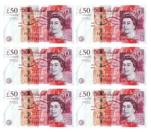 6 x £50 note cake topper decoration edible wafer icing sheet