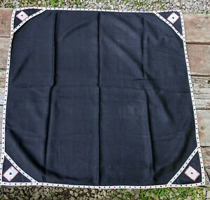 Vintage Black Embroidered Card Table Cover Tablecloth Bridge Elastic Corners
