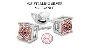 925 Sterling Silver Princess Cut Morganite Cubic Zirconia Stud Earrings Women's