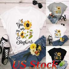 ❤Women's Cotton Sunflower Print Round Neck Casual Summer T-shirt Tee Blouse US❤