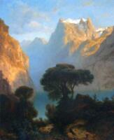 Classical Oil painting The Lake of the four Cantons stunning landscapemountains