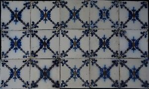 FRANCE ANTIQUE TILE - PAS DE CALAIS - DESVRES - 15-TILE SET c1870