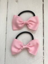 X2 Baby Pink Bow Hair Bobble Hair Elastic Back to School Uniform Party