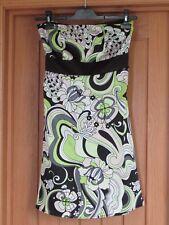 Jane Norman lime black beige floral strapless sash dress size 8 satin feel vgc