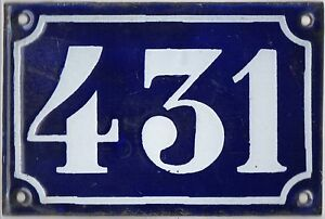 Old blue French house number 431 door gate plate plaque enamel metal sign c1900