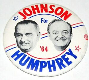 1964 LBJ LYNDON B. JOHNSON HUMPHREY campaign pin pinback badge button political