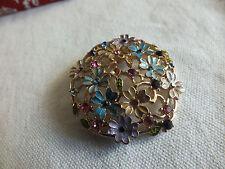 Beautiful Brooch Pin Flower Shape Gold Tone Colorful Enamel Rhinestones 1 3/4