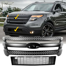 For 2011 2015 Ford Explorer Matte Black Snap On Grille Overlay & Lower Grill