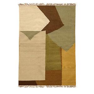 Brown Cream Grey Modern Contemporary Abstract Design Handmade Wool Rug 5x8 feet