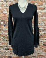 Zara Women's Size S Black V-Neck Long Sleeve Stretch Top Blouse #13C5