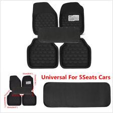 5 Pcs Universal Car Floor Mats Front&Rear Carpet Black Skidproof Mat All Weather
