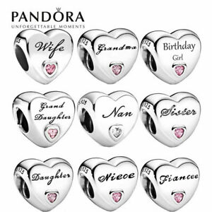 S925 ALE PANDORA STERLING SILVER CHARM DAUGHTER WIFE MUM NAN AUNTIE LOVE HEART